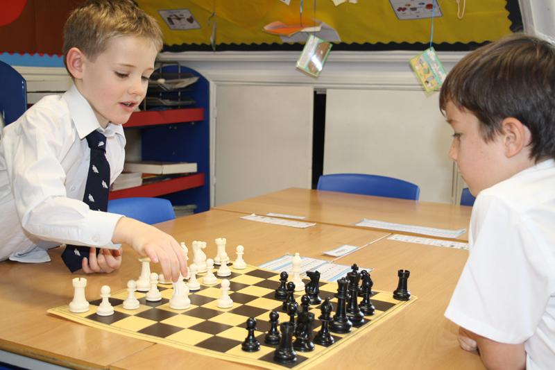 Budding 'Chess Grandmasters' Leo Hopkins (7) and Sammy Barrett (6)