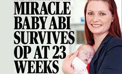 Miracle baby Abi survives op at 23 weeks