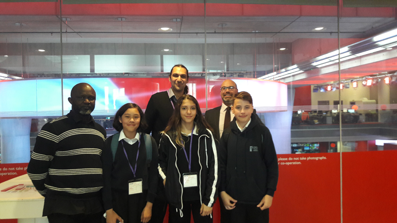 From left. Portland Place caretaker Joe Akyeampong, Tashi Feinstein, Lara Newell, head of year 8 Toni Tasic, Russell Winnard from Young Enterprise and Ezra Button.