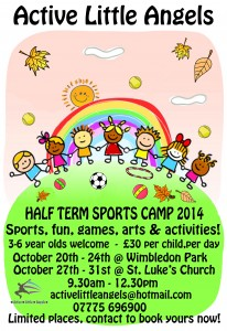 October Half Term Sports Camp, 3-6 year olds, Southfields Area @ 20th-24th Wimbledon Park. 27th-31st St Lukes Church Hall | London | England | United Kingdom