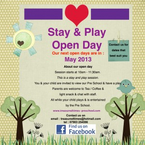 Stay and Play Open Day at Treasured Times Pre-School Teddington @ St. John's Ambulance Building on Park Road, Teddingon | Teddington | United Kingdom